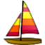 Colorful Sail Boat Smiley Face, Emoticon