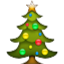 Decorated Christmas Tree Smiley Face, Emoticon