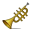 Golden Music Trumpet Smiley Face, Emoticon
