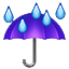 Purple Umbrella And Rain Smiley Face, Emoticon