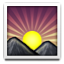 Sunrise Between Mountains Smiley Face, Emoticon