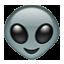 Smiling White Martian Smiley Face, Emoticon
