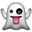 Smiling Ghost Says Boo Smiley Face, Emoticon