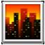 Orange Sky And Buildings Smiley Face, Emoticon