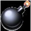 Black Circle Bomb Smiley Face, Emoticon