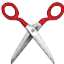 Red Sharp Scissors Smiley Face, Emoticon