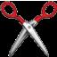 Red Sharp Scissors Smiley Face, Emoticon