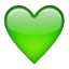 Green Heart Shape Smiley Face, Emoticon