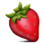 Bright Red Strawberry Smiley Face, Emoticon