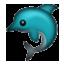 Blue Green Dolphin Smiley Face, Emoticon