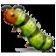 Tiny Green Caterpillar Smiley Face, Emoticon