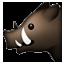 Black Wild Boar Smiley Face, Emoticon